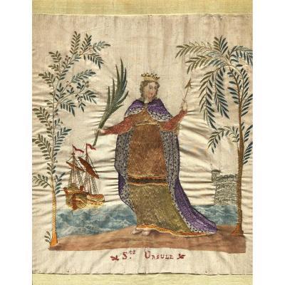 Embroidery Work On Silk In Honor Of Sainte Ursule