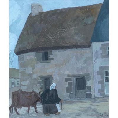 Farmer And Her Cow By Jean-Émile Laboureur (1870-1943) - Brittany