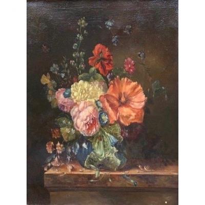 Bouquet De Fleurs Présenté Sur Un Entablement - École Française Du XIXe