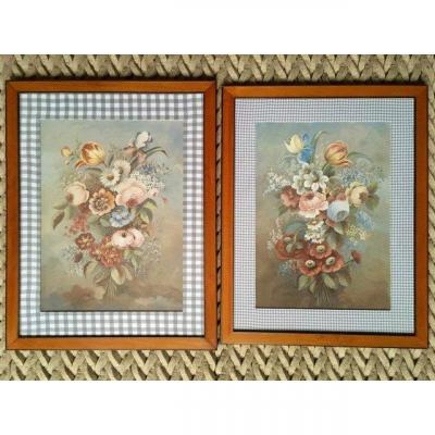 Paire de Gouaches XIXe - Bouquets De Fleurs