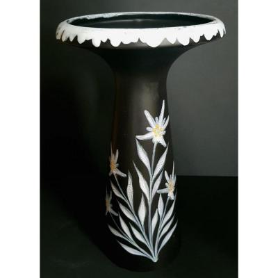 Grand Vase En Faïence Anthracite à Décor D'édelweiss - Gabriel Fourmaintraux