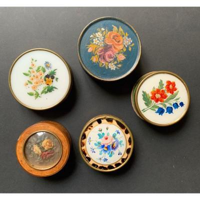 Bel Ensemble De Cinq Boîtes à Bonbons Circulaires à Motifs Floraux
