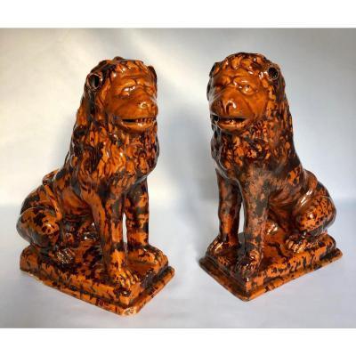 Paire De Lions XVIIIe - Manufacture De Nevers