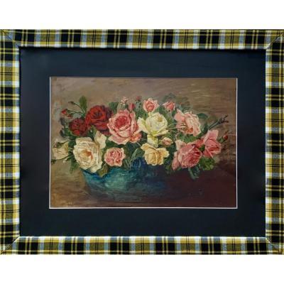 Bouquet De Roses Ecole XXe Siècle, Huile Sur Panneau