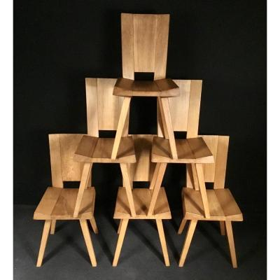 Six Chairs In Solid Elm 1960