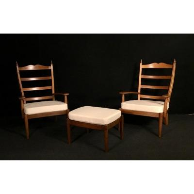 Pair Of Armchairs And Footrest XXth Century