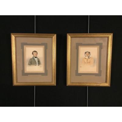 Pair Of Portraits XIXth Century Signed Duval