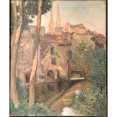 Painting By Albert Horel View Of Chartres