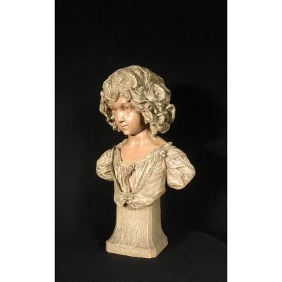 Grand Buste De Fillette Friedrich Goldscheider