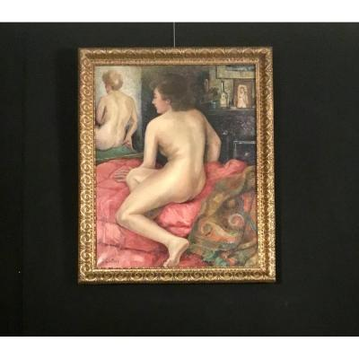 Oil On Canvas, Nude, Signed By J. Sewing