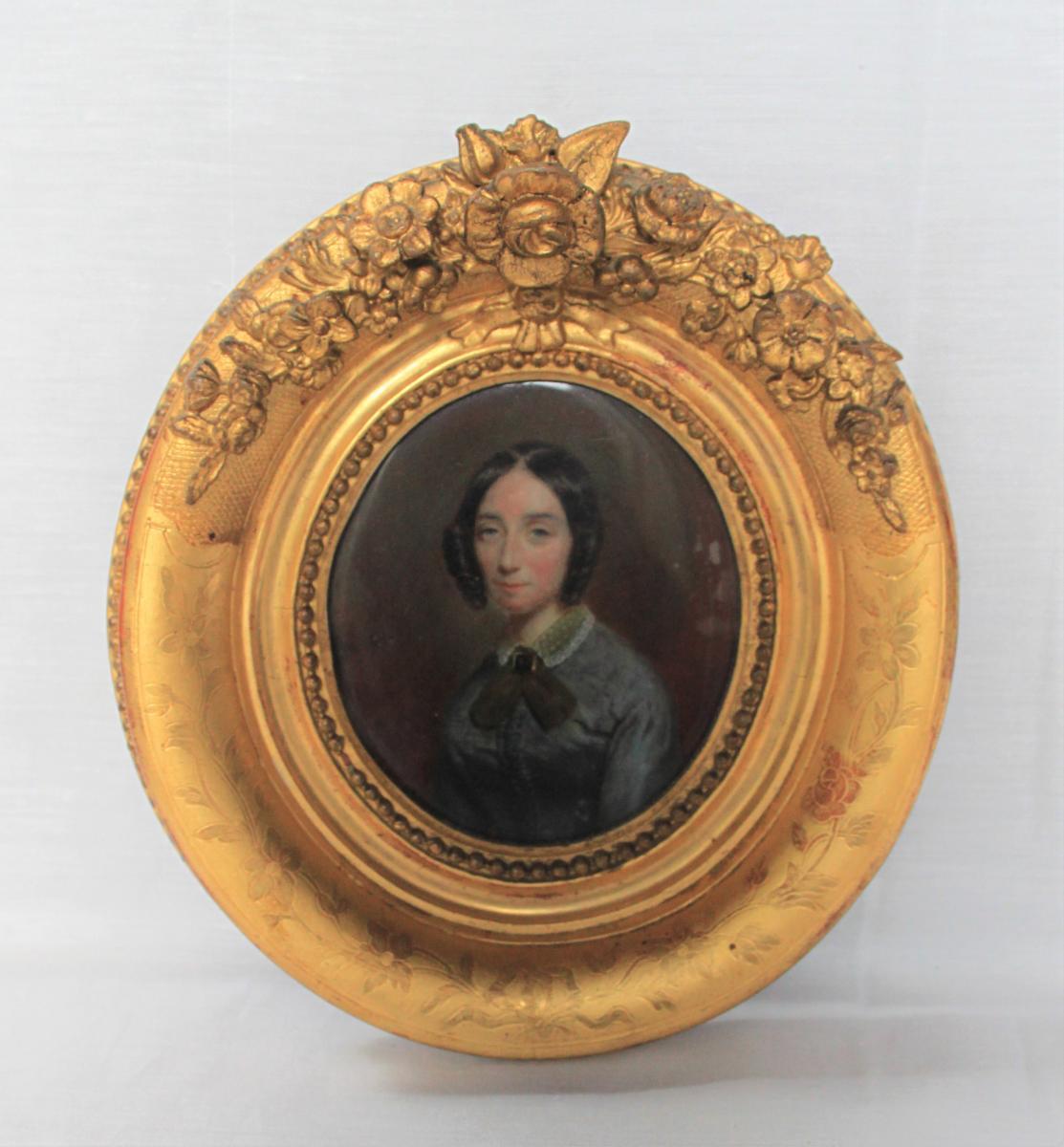 Miniature On Ivory, Golden Frame 1850