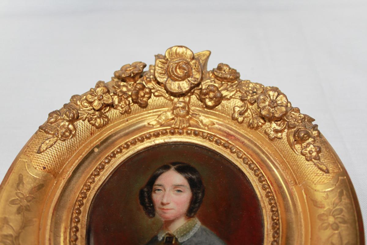 Miniature On Ivory, Golden Frame 1850-photo-3