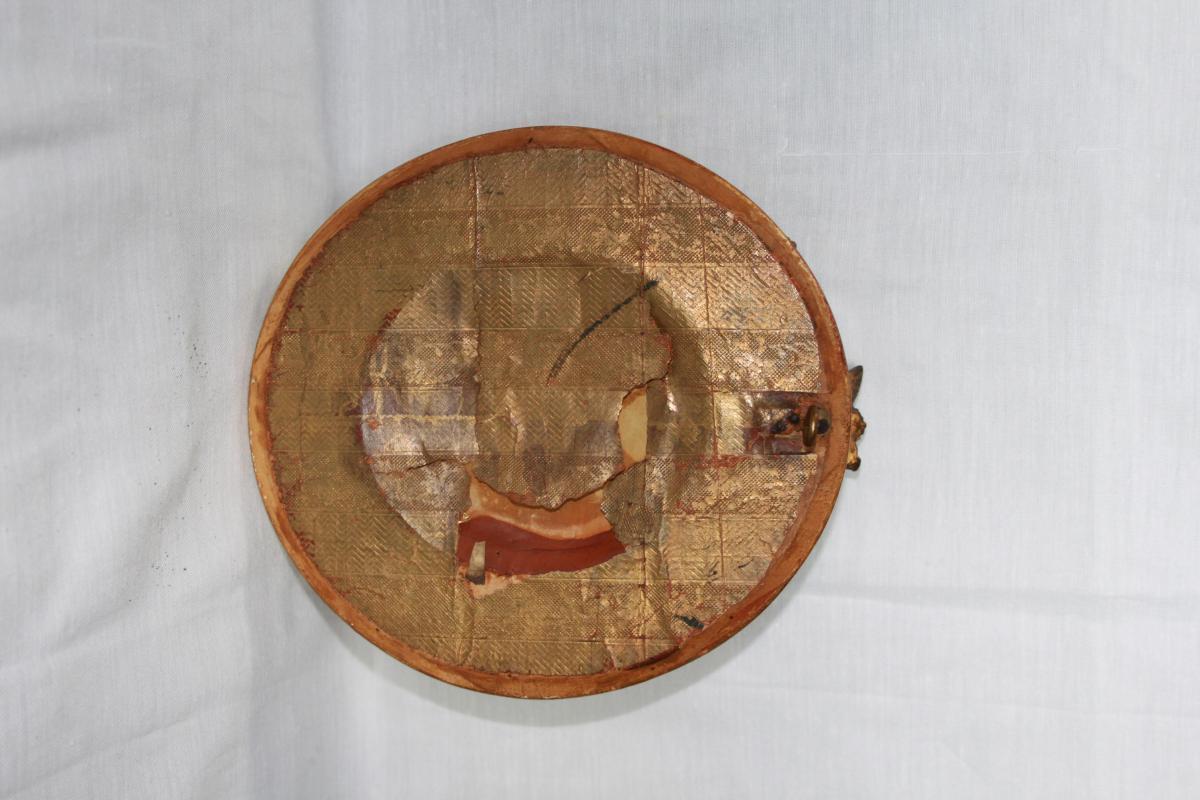 Miniature On Ivory, Golden Frame 1850-photo-1