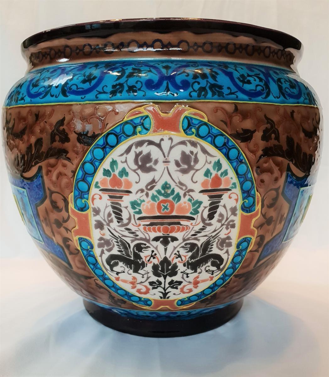 Cache Old Pot Bordeaux, Enamels Caranza 1880-photo-3
