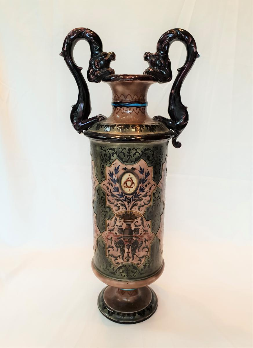 Grand Vase Aux Dragons Vieillard Bordeaux émaux Caranza