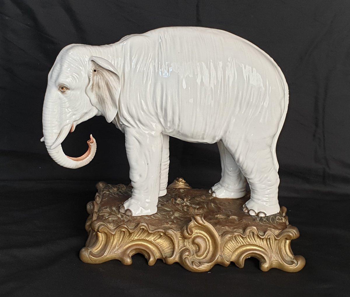 Samson, Like Meissen Elephant In Porcelain XIX