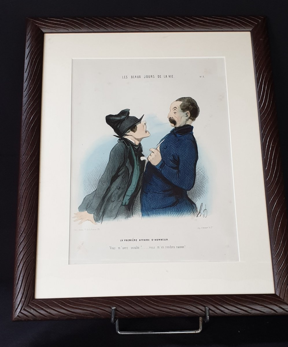 Honoré Daumier, The Beautiful Days Of Life N ° 5, Colorized Lithography  XIX