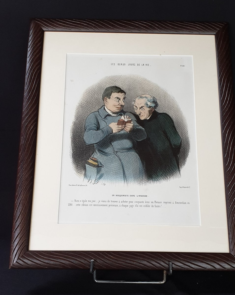 Honoré Daumier, The Beautiful Days Of Life No. 28, XIXth Colorized Lithography
