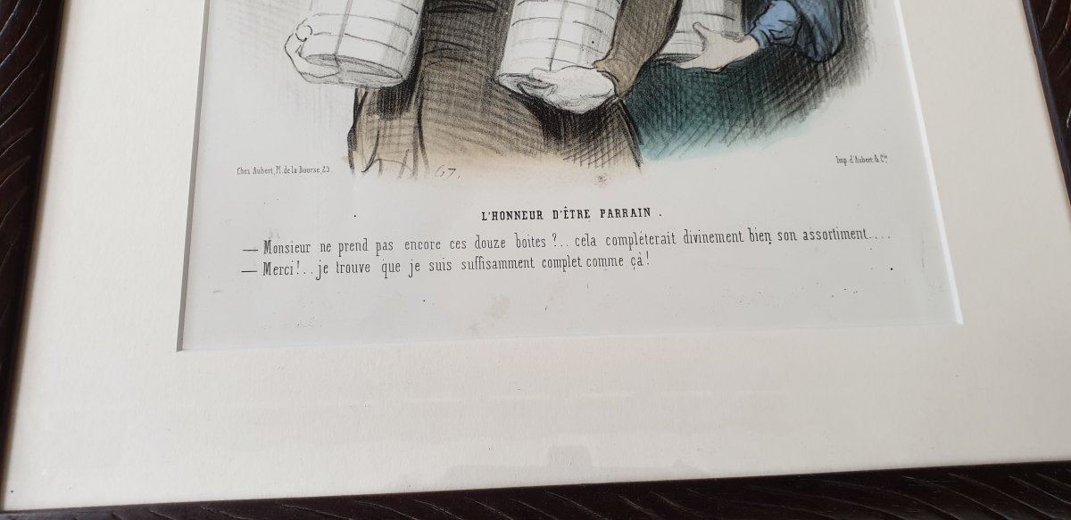 Honoré Daumier , Les Beau Jours De La Vie N° 32 ,  Lithographie  Colorisée  XIX ème-photo-2