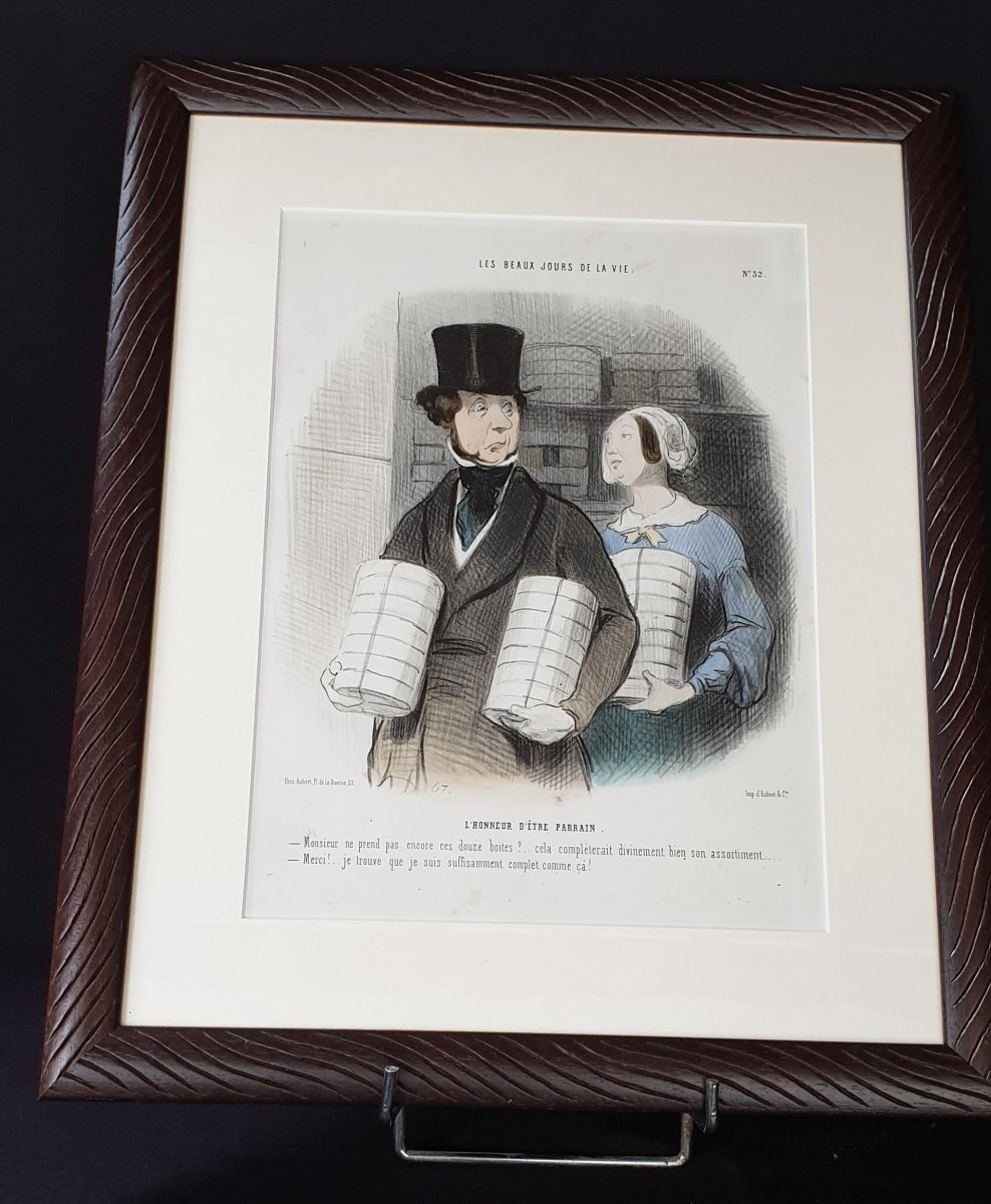 Honoré Daumier, The Beautiful Days Of Life No. 32, Colorized Lithograph XIX