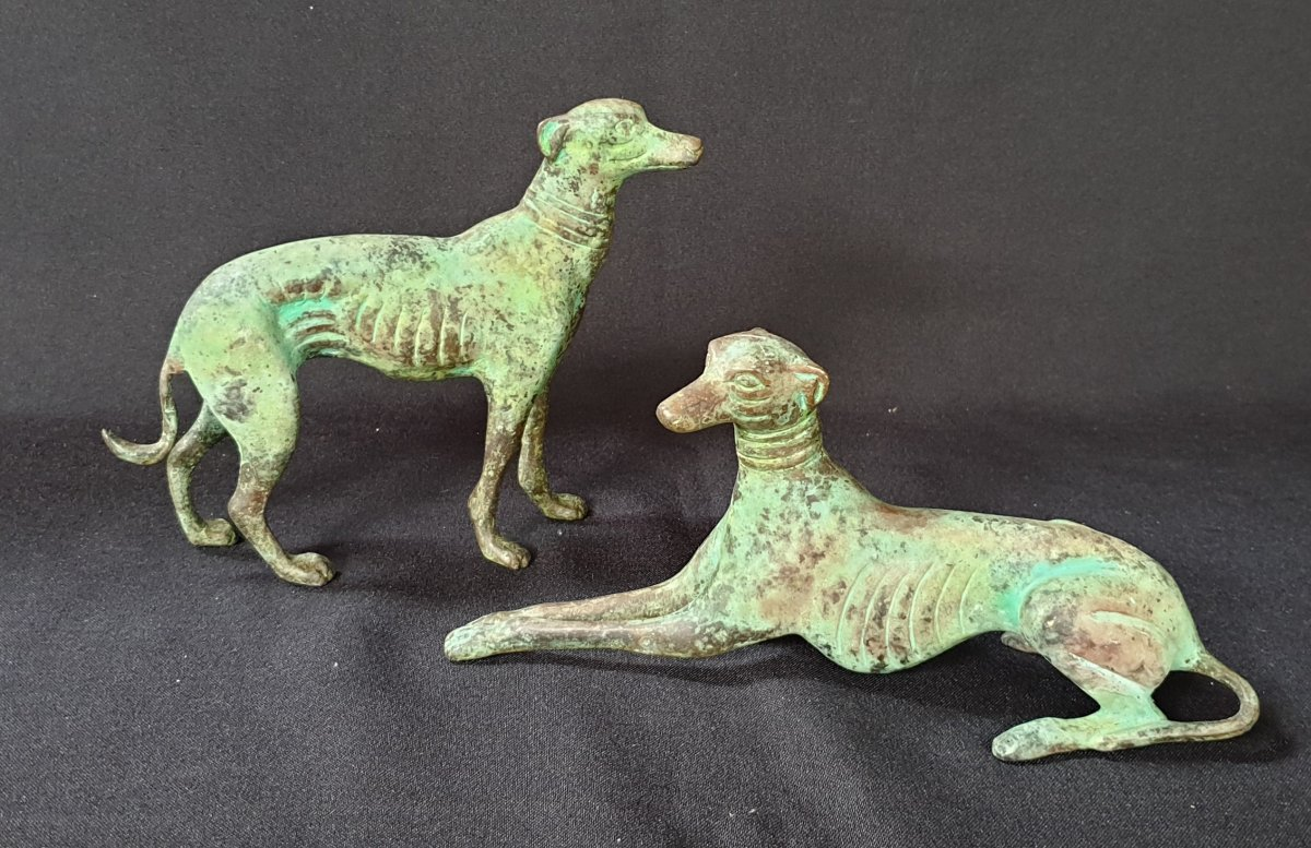 Pair Of Greyhounds, Decorative Bronze XX Th