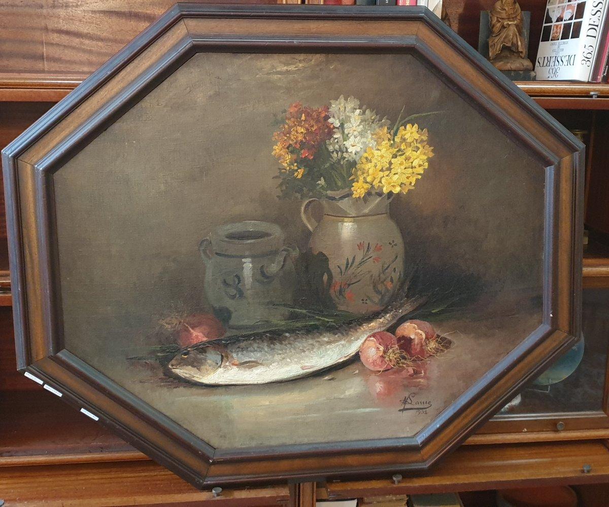 Maurice Larue: Large Still Life With Fish