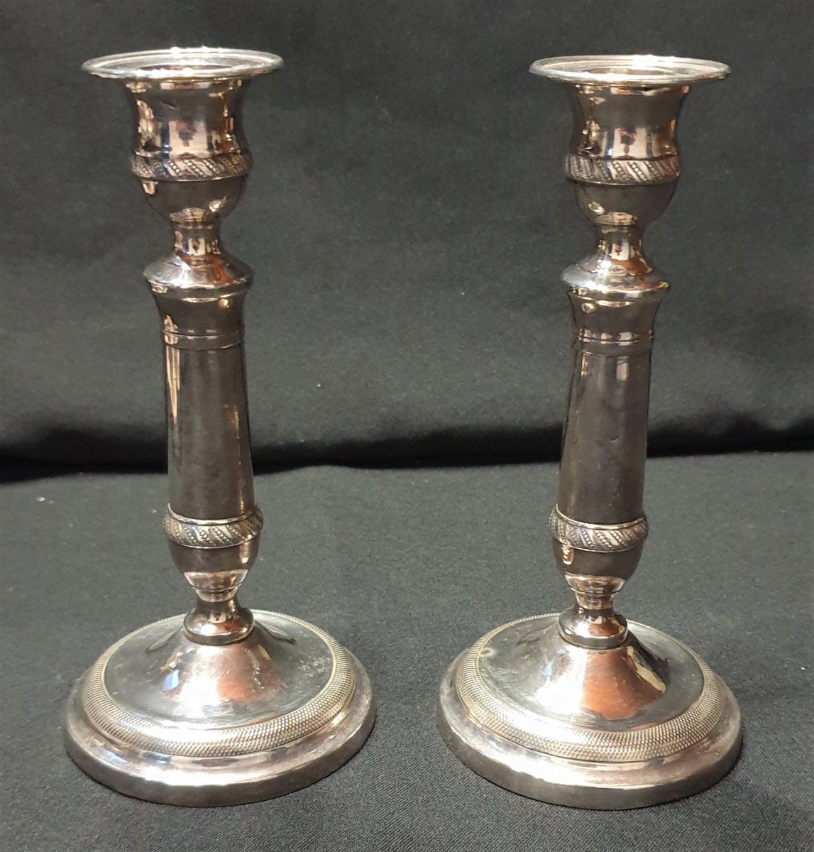 Pair Of Silver Candlesticks, Louis XVI Period