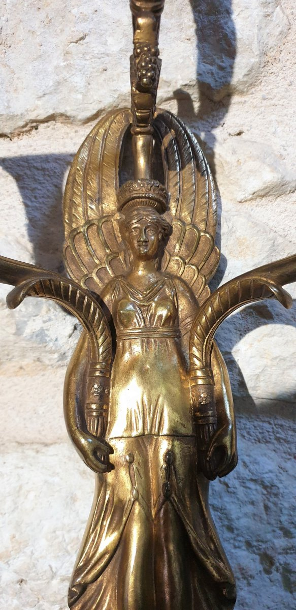 Pair Of Gilt Bronze Wall Lights From The Empire Return From Egypt-photo-3