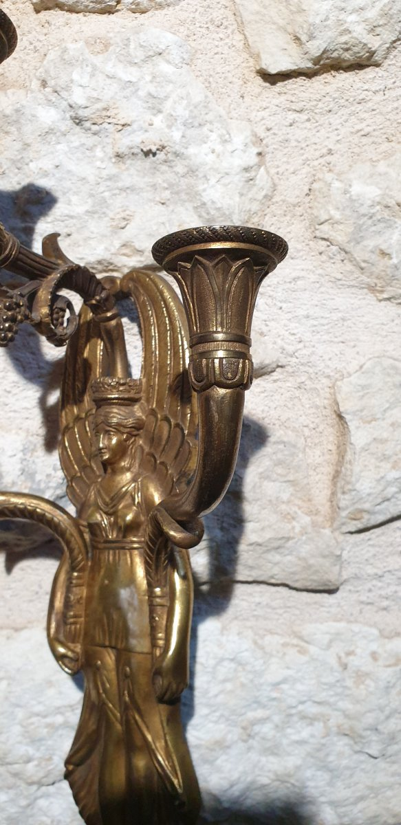 Pair Of Gilt Bronze Wall Lights From The Empire Return From Egypt-photo-1