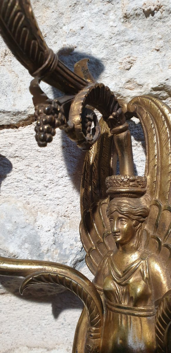 Pair Of Gilt Bronze Wall Lights From The Empire Return From Egypt-photo-2