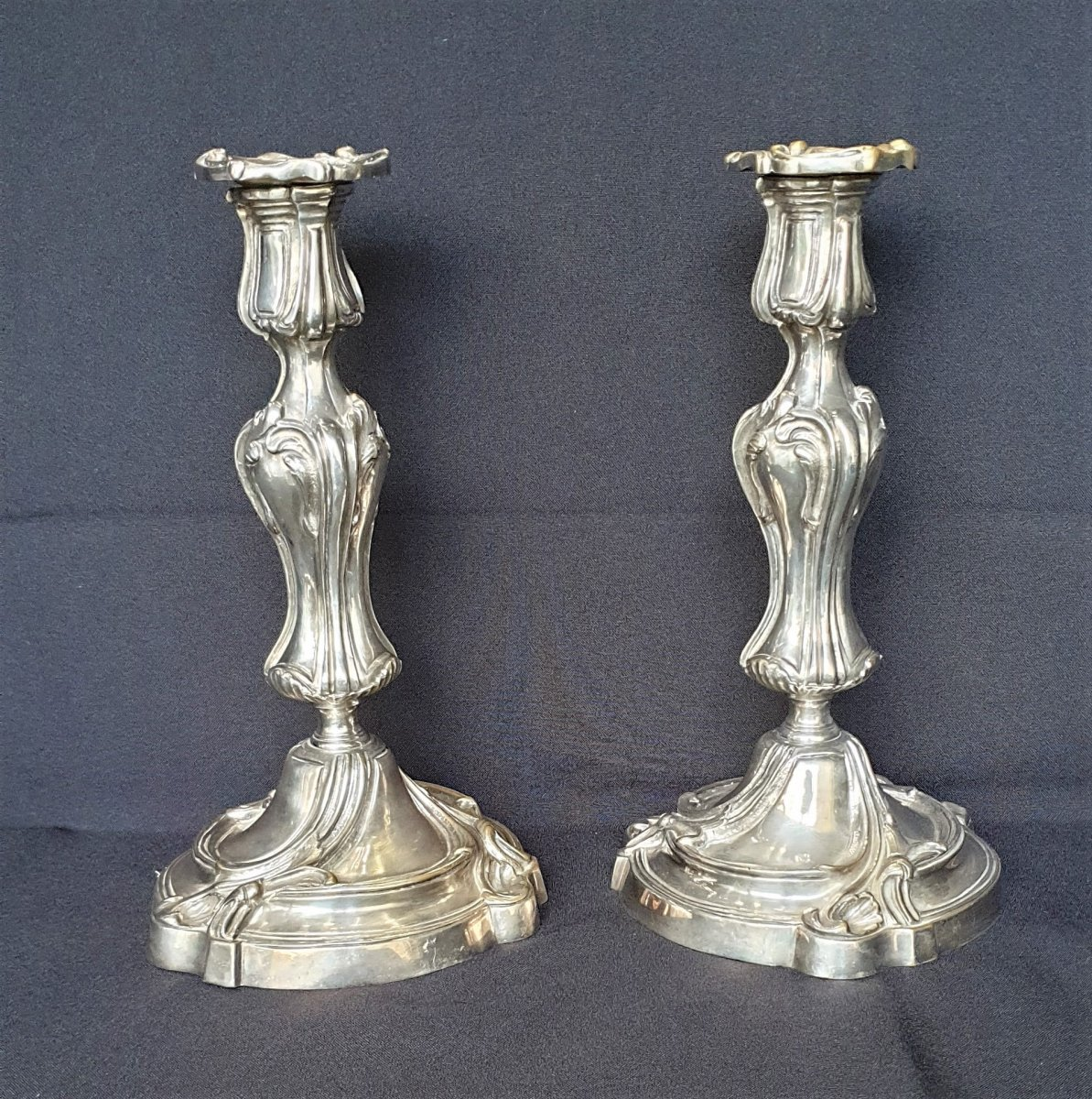 Pair Of Silvered Bronze Candlesticks