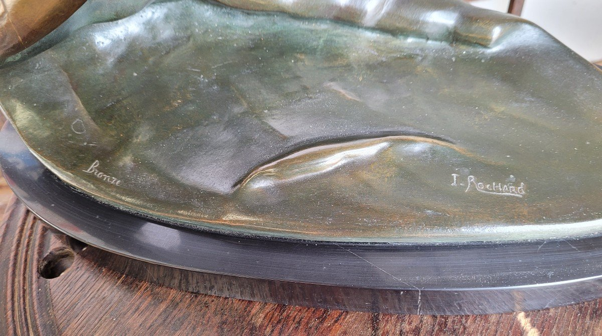 Irénée Rochard, Seagull On The Wave Large Bronze With Two Patinas-photo-1