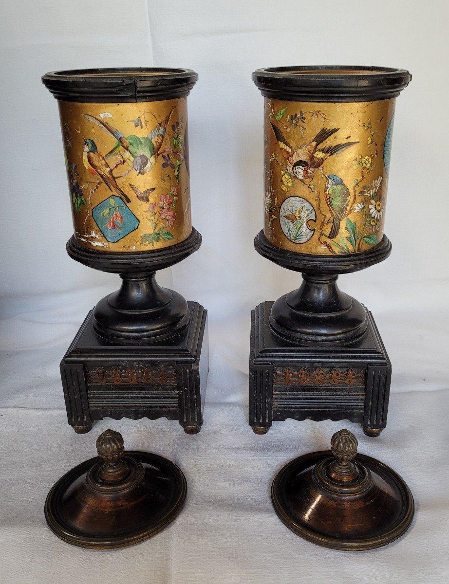 Rare Pendule Et Garniture Marbre Et Bronze Japonisante-photo-1