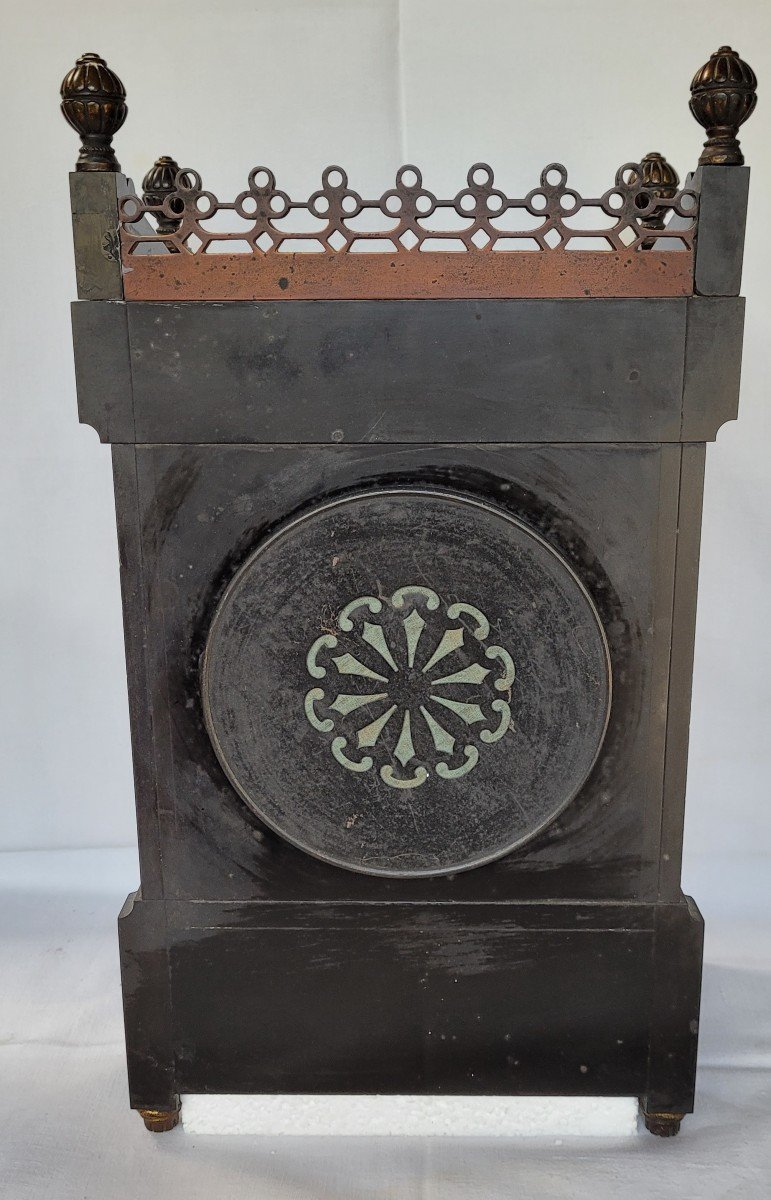 Rare Pendule Et Garniture Marbre Et Bronze Japonisante-photo-7