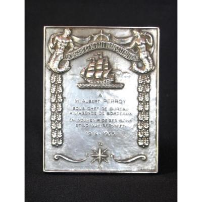 Plaque Argent Massif , Transatlantique, Albert Perroy