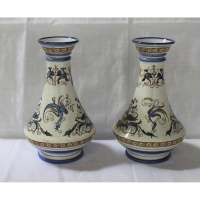Pair Of Gien Vases, Renaissance Decor 1860