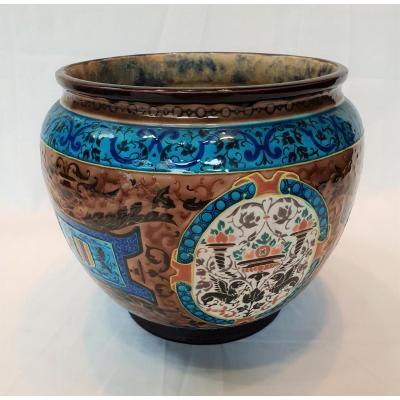 Cache Pot Jules Vieillard Bordeaux , émaux Caranza 1880