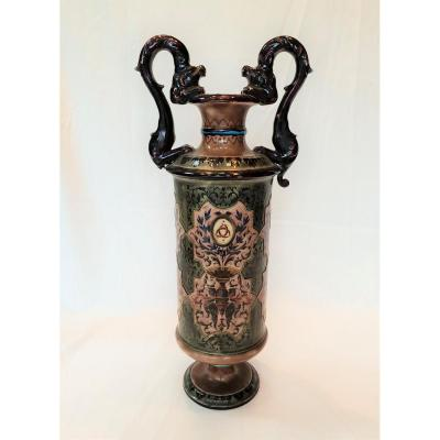 Large Vase With Dragons Old Man Bordeaux Enamels Caranza