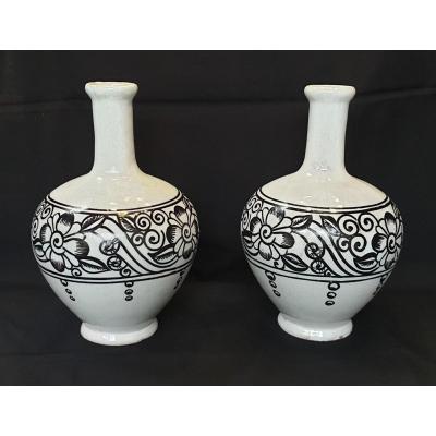 Paire De Vases Devres : Henri Delcourt Art Déco 1930