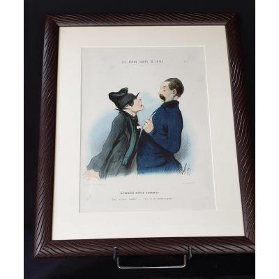 Honoré Daumier , Les Beau Jours De La Vie N° 5,  Lithographie  Colorisée  XIX ème
