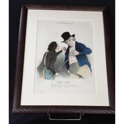 Honoré Daumier , Les Beau Jours De La Vie N° 14 ,  Lithographie  Colorisée  XIX ème