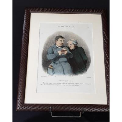 Honoré Daumier , Les Beau Jours De La Vie N° 28 ,  Lithographie  Colorisée  XIX ème