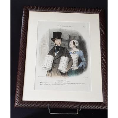 Honoré Daumier , Les Beau Jours De La Vie N° 32 ,  Lithographie  Colorisée  XIX ème
