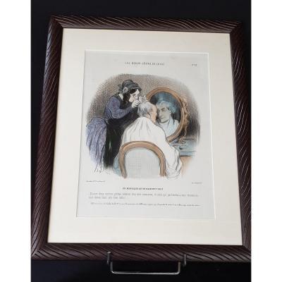 Honoré Daumier , Les Beau Jours De La Vie N° 52 ,  Lithographie  Colorisée  XIX ème