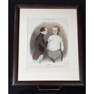 Honoré Daumier , Les Beau Jours De La Vie N° 67 ,  Lithographie  Colorisée  XIX ème