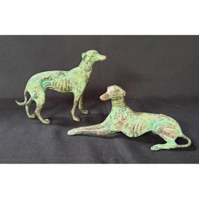 Paire De Levriers , Bronze Décoratif  XX ème