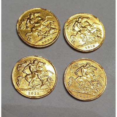 Lot Of 4 Half Sovereigns Gold, Georges V