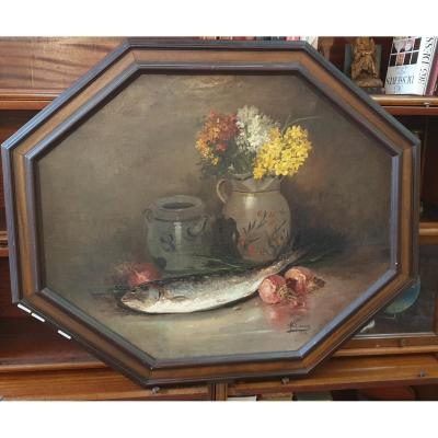 Maurice Larue: Large Still Life With Fish