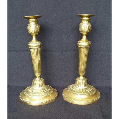 Pair Of Louis XVI Gilt Bronze Candlesticks, 18th Century