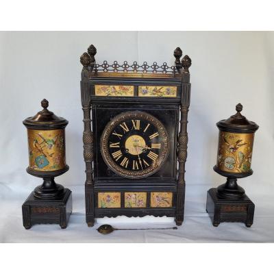 Rare Pendule Et Garniture Marbre Et Bronze Japonisante